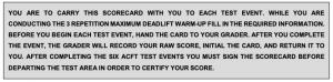 ACFT scorecard instructions