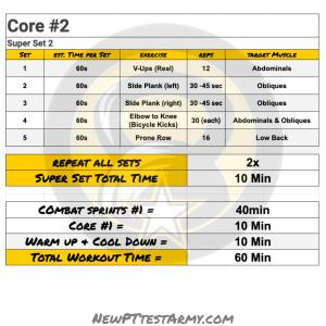 acft core workout plan #2