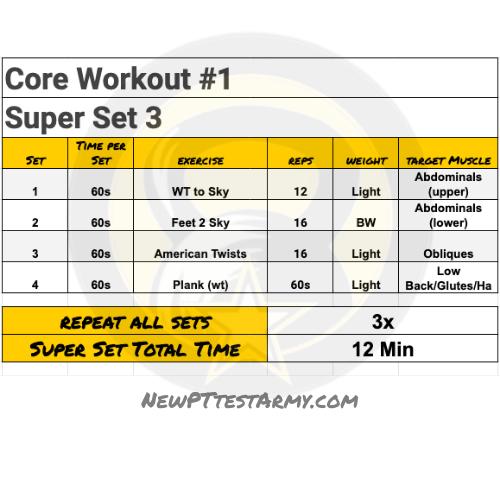core # 1 ACFT Workout Plan