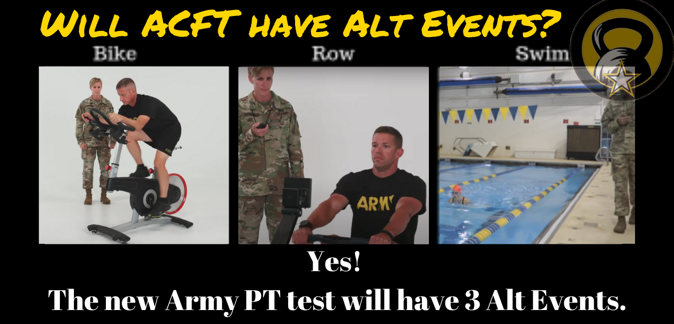 Will the new Army PT test have alternate events